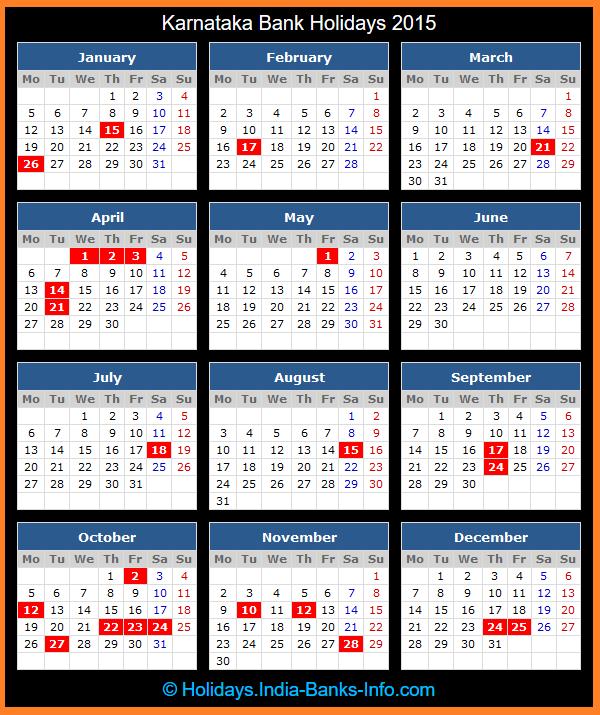 Karnataka Bank Holidays 2015 India Bank Holidays