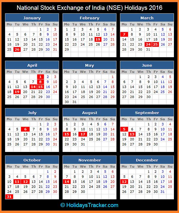 National Stock Exchange of India Holidays – 2016 – India Bank Holidays