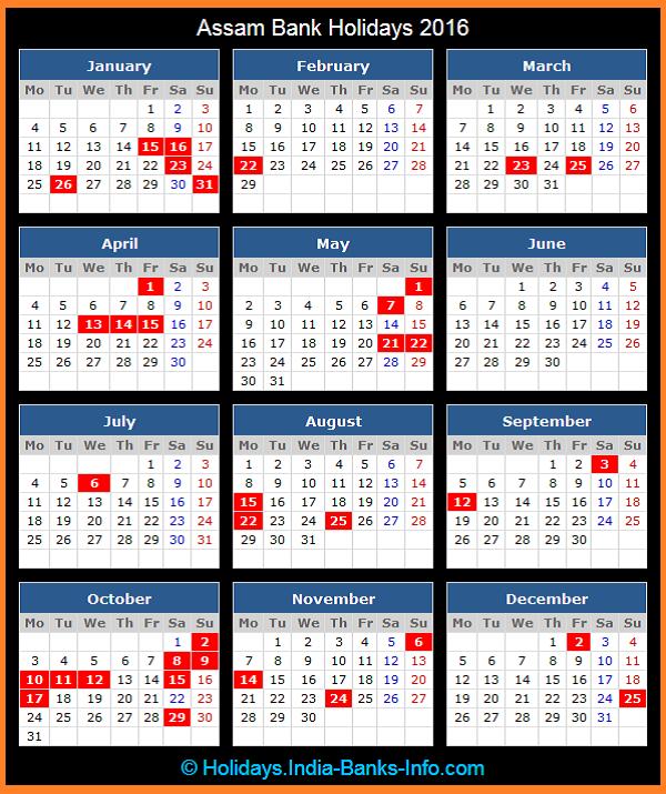 Click To View Printable Assam Bank Holidays Calendar 2016