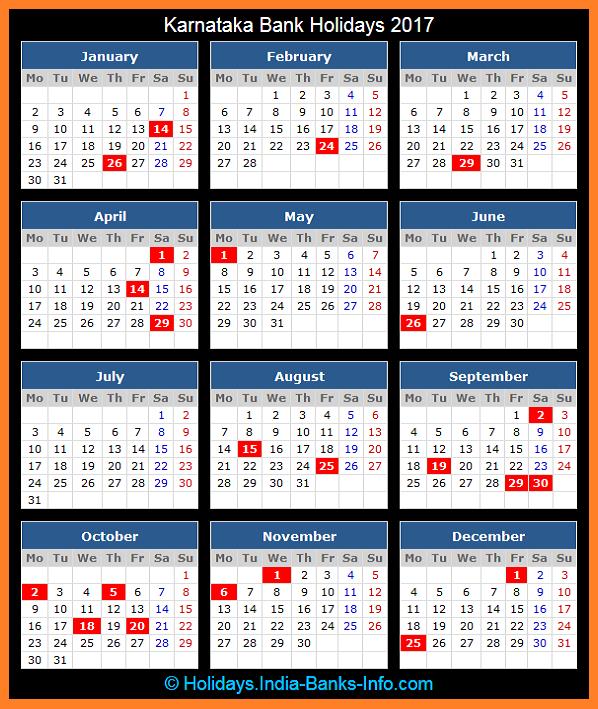 Karnataka Bank Holidays – 2017 – India Bank Holidays