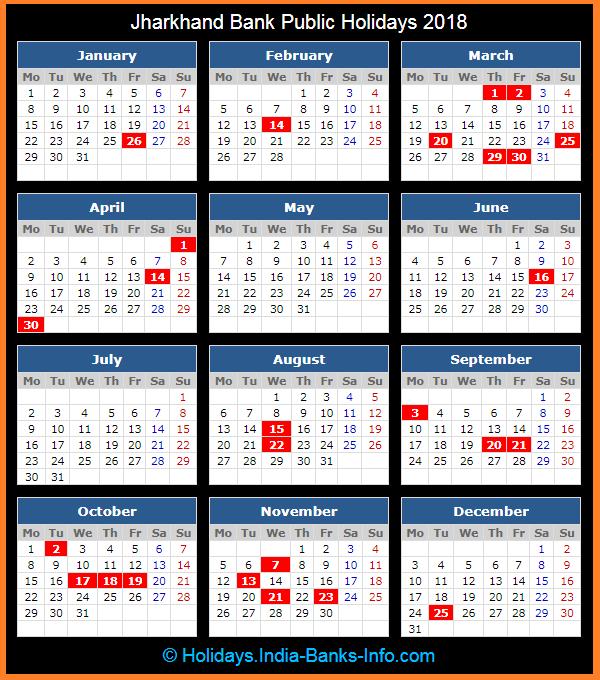 jharkhand bank public holidays calendar 2018