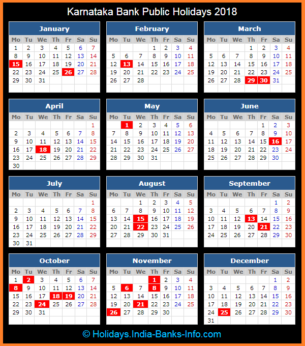 Karnataka Bank Holidays – 2018 – India Bank Holidays
